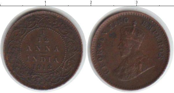 Картинка Монеты Индия 1/12 анны Медь 1912