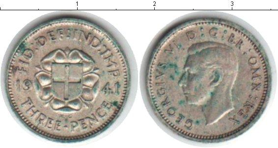 Картинка Монеты Великобритания 3 пенса Серебро 1941