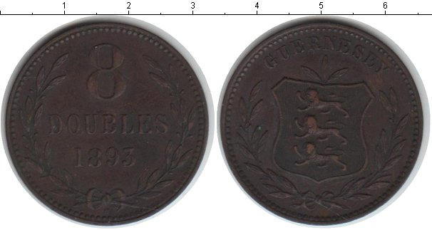 Картинка Монеты Гернси 8 дублей Медь 1893