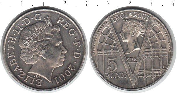 Картинка Монеты Великобритания 5 фунтов Медно-никель 2001