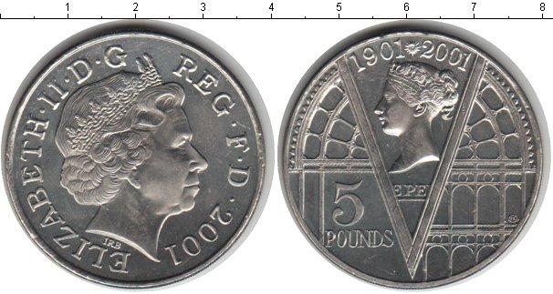 Картинка Монеты Великобритания 5 фунтов Медно-никель 2002