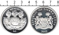 Изображение Монеты Сьерра-Леоне 10 долларов 2002 Серебро Proof В память!