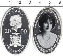 Изображение Монеты Замбия 4000 квач 2000 Серебро Proof 100-летие королевы-м
