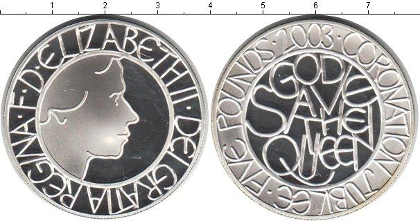 Картинка Монеты Великобритания 5 фунтов Серебро 2003