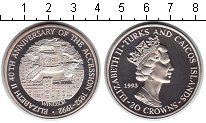 Изображение Монеты Теркc и Кайкос 20 крон 1993 Серебро