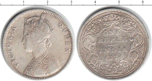 Картинка Монеты Индия 1 рупия Серебро 1874
