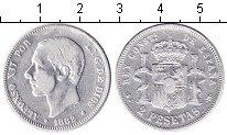 Изображение Монеты Испания 2 песеты 1882 Серебро  Альфонсо XII