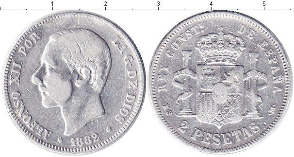 Картинка Монеты Испания 2 песеты Серебро 1882