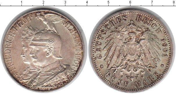 Картинка Монеты Пруссия 5 марок Серебро 1901