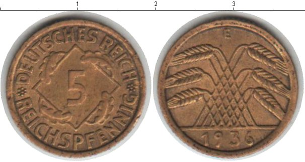 Картинка Монеты Веймарская республика 5 пфеннигов  1936