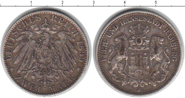 Картинка Монеты Гамбург 2 марки Серебро 1899