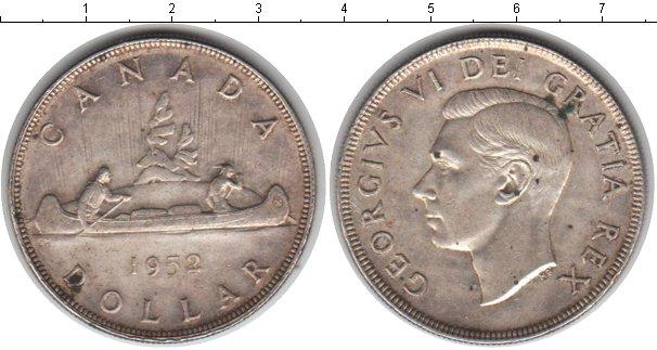 Картинка Монеты Канада 1 доллар Серебро 1952