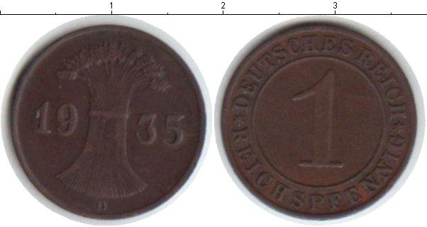 Картинка Монеты Веймарская республика 1 пфенниг Медь 1935