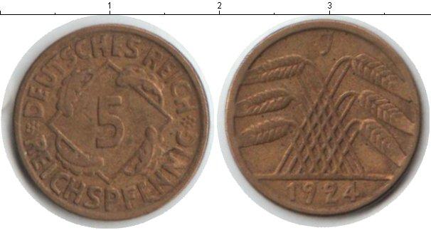 Картинка Монеты Веймарская республика 5 пфеннигов Медь 1924