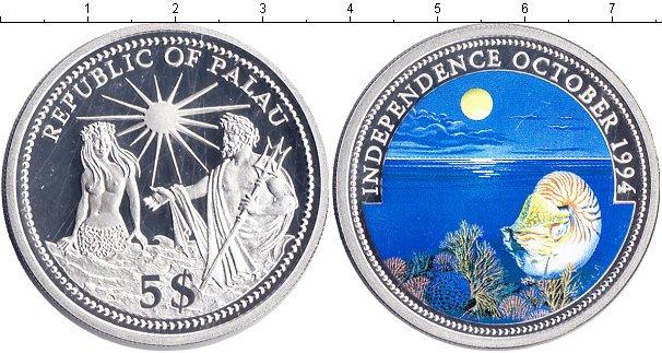 Картинка Монеты Палау 5 долларов Серебро 1994