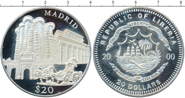 Картинка Монеты Либерия 20 долларов Серебро 2000