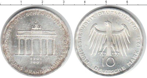 Картинка Монеты Германия 10 марок Серебро 1991
