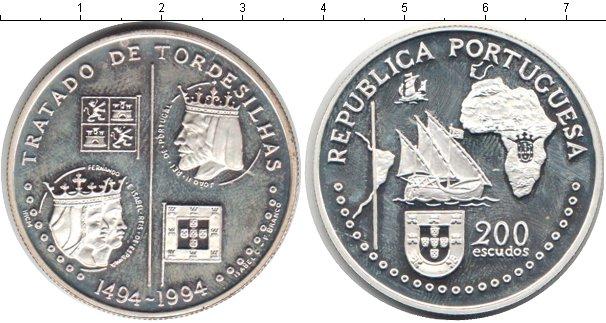 Картинка Монеты Португалия 200 эскудо Серебро 1994