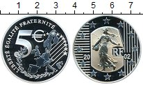 Изображение Монеты Франция 5 евро 2002 Серебро Proof- Золотая вставка. 2,7