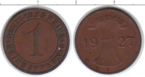 Картинка Монеты Веймарская республика 1 пфенниг Медь 1927
