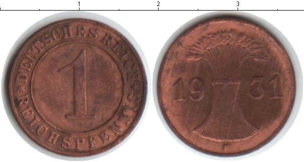 Картинка Монеты Веймарская республика 1 пфенниг Медь 1931
