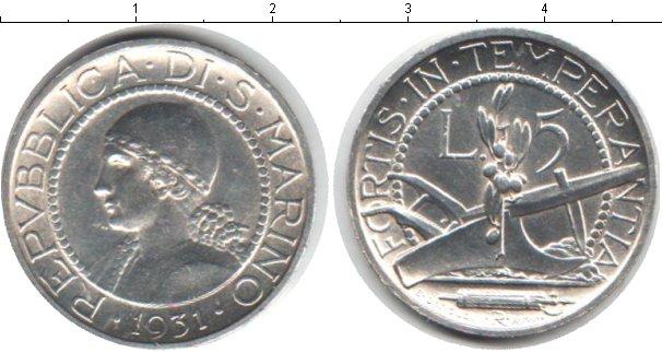 Картинка Монеты Сан-Марино 5 лир Серебро 1931