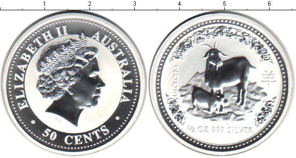 Картинка Монеты Австралия 50 центов Серебро 2003
