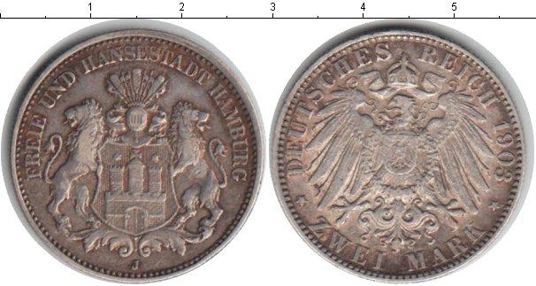 Картинка Монеты Гамбург 2 марки Серебро 1903