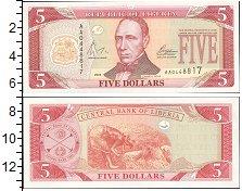 Изображение Боны Либерия 5 долларов 0  UNC-