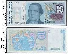 Изображение Банкноты Аргентина 10 аустралес 0  UNC- Аргентинский политик