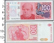 "Изображение Банкноты Аргентина 100 аустралес 0  UNC- <p class=""MsoNormal"""