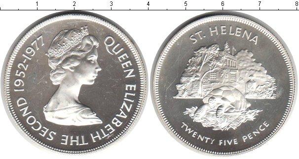 Картинка Монеты Остров Святой Елены 25 пенсов Серебро 1977