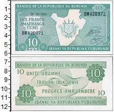 Изображение Банкноты Бурунди 10 франков 2005  UNC- Контурная карта с ге