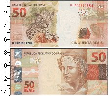"""Изображение Банкноты Бразилия 50 рейс 2010  UNC- Скульптура """"Республи"""