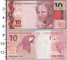 Изображение Банкноты Бразилия 10 рейс 0  UNC Попугай Ара.