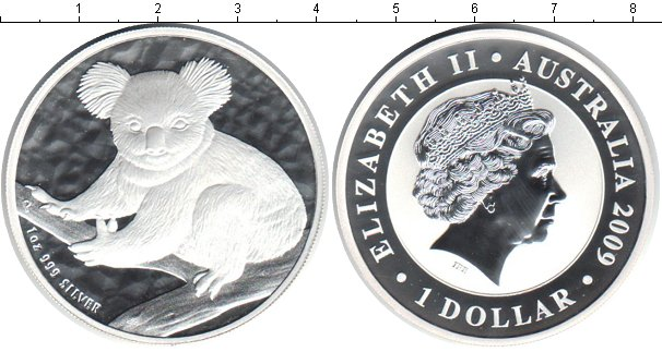 Картинка Монеты Австралия 1 доллар Серебро 2009