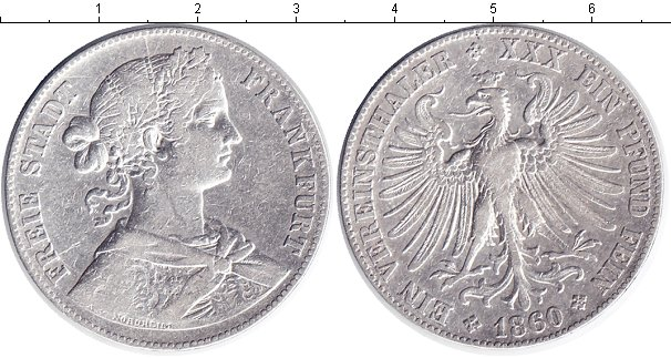Картинка Монеты Франкфурт 1 талер Серебро 1860