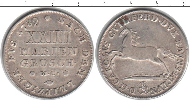 Картинка Монеты Брауншвайг-Вольфенбюттель 2/3 талера Серебро 1789