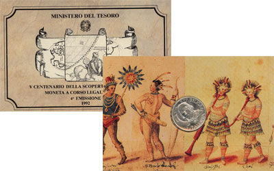 Изображение Подарочные монеты Италия 500-летие открытия Америки 1992 Серебро