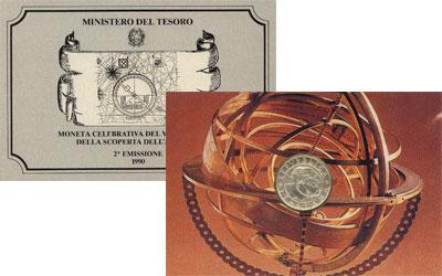 Изображение Подарочные монеты Италия 500-летие открытия Америки 1990 Серебро