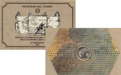 Изображение Подарочные монеты Италия 500-летие открытия Америки 1991 Серебро UNC