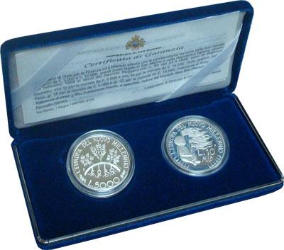 Изображение Подарочные наборы Сан-Марино Европа в новом тысячелетии 1998 Серебро Proof Набор посвящен вступ