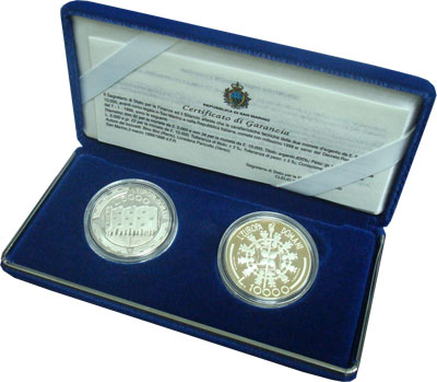 Изображение Подарочные наборы Сан-Марино Будущее Европы 1999 Серебро Proof Набор посвящен виден