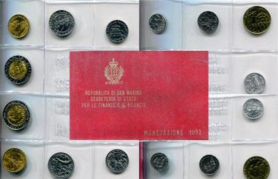 Изображение Подарочные монеты Сан-Марино Регулярный выпуск 1992 года 1992  UNC