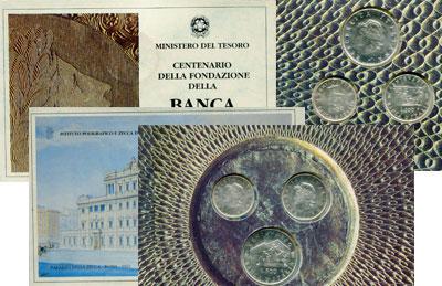 Изображение Подарочные монеты Италия 100-летие банка Италии 1993 Серебро