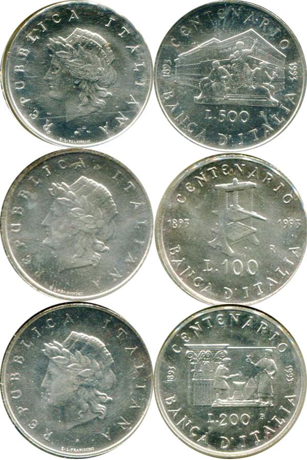 Картинка Подарочные монеты Италия 100-летие банка Италии Серебро 1993