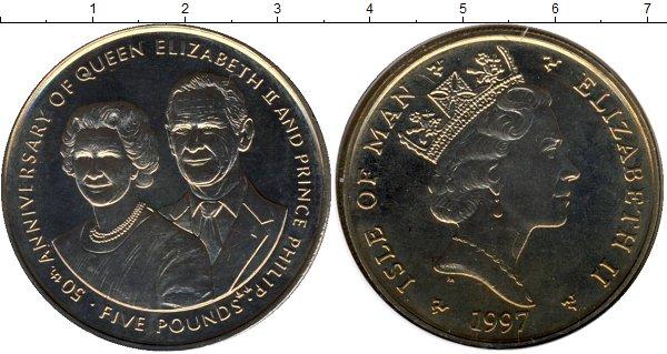 Картинка Подарочные монеты Остров Мэн Золотой юбилей бракосочетания королевы Елизаветы и Филиппа Медно-никель 1997