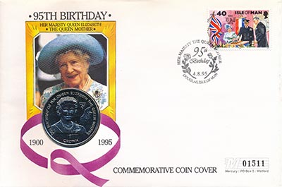 Изображение Подарочные наборы Остров Мэн 95-летний юбилей королевы 1995 Медно-никель  Подарочная монета по