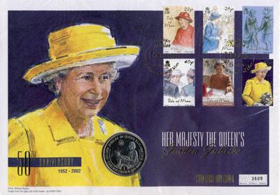 Изображение Подарочные монеты Остров Мэн Королева Елизавета II 2002 Медно-никель UNC Подарочная монета по