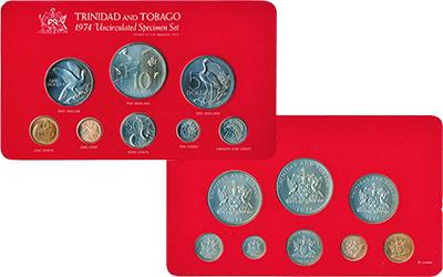 Изображение Подарочные монеты Тринидад и Тобаго Выпуск монет 1974 1974  UNC Набор памятных монет